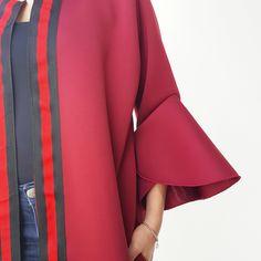 Qabeela Deep Red Sportsluxe 17 Abaya with Metal Detailing