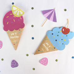Envoyez de jolis cartons d'invitation en forme de glace pour l'anniversaire de…