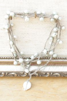 Boho Minty Freshwater Pearl Crochet Necklace Boho Style by catilla, $25.00