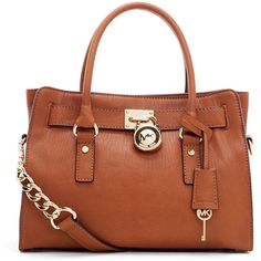 MICHAEL Michael Kors Hamilton Satchel, Luggage ($298) ❤ liked on Polyvore