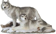 "Amazon.com: Custom & Unique {6.3"" x 10.8"" Inch} 1 Single Large, Home & Garden ""Standing"" Figurine Decoration Made of Resin w/ Realistic Winter Snowy Resting Mountain Wolves Style {Gray, White & Tan Color}: Home & Kitchen"
