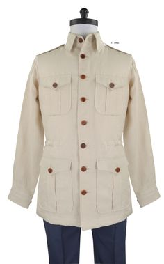 Pure Linen - Tan safari jacket from Luxire: http://custom.luxire.com/products/pure-linen-tan-14  Features: Box pleat pockets and 1 button cuffs with adjustment.
