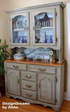 farmhouse china cabinet makeover, home decor, painted furniture, The very dark before with the lighter brighter farmhouse after Refurbished Furniture, Paint Furniture, Repurposed Furniture, Furniture Projects, Furniture Making, Furniture Makeover, Farmhouse Furniture, Refurbished Hutch, Diy Projects