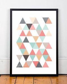 Triangles print Scandinavian print Abstract by ShopTempsModernesTriangles print, Scandinavian print, Abstract art, Office decor, Mid century modern, Modern art, Minimalist print, Colorful print, Cute art
