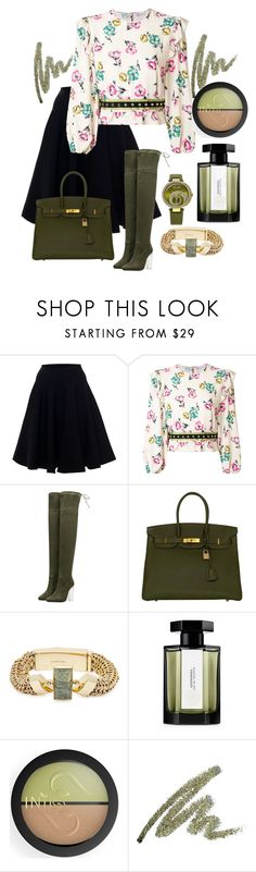 """Skirt & Boots"" by namogold ❤ liked on Polyvore featuring Alaïa, RED Valentino, Hermès, Cornelia Webb, L'Artisan Parfumeur and INIKA"