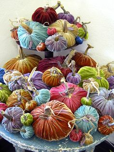 The first time I walked into a store and saw these beauties I gasped! Velvet pumpkins! What a fantastic idea. However,I gasped a second...