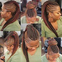 African Braids Hairstyles 747879081857649930 - WEBSTA @ braidsbyekua – I named it the Versatile Faux Hawk Source by screenlura Braided Mohawk Black Hair, Braided Mohawk Hairstyles, Black Girl Braids, Bandana Hairstyles, African Braids Hairstyles, Braids For Black Hair, My Hairstyle, African Hair Braiding, Cornrows Braids For Black Women