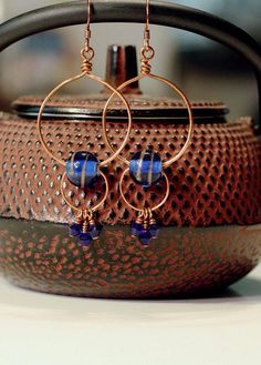 Royal Blue Copper Circle Earrings with Swarovski Crystals