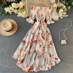Long Summer Dresses, Summer Dress Outfits, Stylish Dresses, Cute Dresses, Beautiful Dresses, Summer Maxi, Floral Dress Outfits, 1950s Dresses, Party Dresses