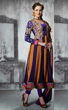 PURPLE & YELLOW GEORGETTE ANARKALI SALWAR KAMEEZ - DIF 28859