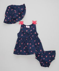 Take a look at the Dollhouse Navy & Pink Floral Button-Up Poplin Dress Set - Infant on #zulily today!