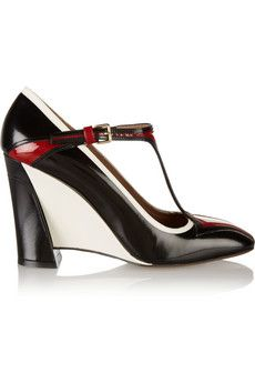 Marni Leather Mary Jane wedge pumps | THE OUTNET