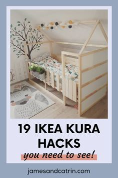 The Kura kids bed is so good for toddlers as it is. You can really transform it into something amazing though with an Ikea Kura hack. #ikeakurahacks #ikeahack #kurahack Ikea Toddler Room, Ikea Kids Bed, Ikea Hack Kids, Ikea Hacks, Kura Ikea, Kura Bed Hack, Ikea Crib Hack, Cama Montessori Ikea, Ikea Furniture Hacks
