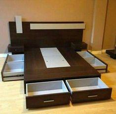 trendy bedroom storage built in drawers Bedroom Cupboard Designs, Wardrobe Design Bedroom, Bedroom Bed Design, Bedroom Furniture Design, Modern Bedroom Design, Home Room Design, Bed Furniture, Home Decor Furniture, Bed Designs With Storage