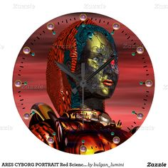 ARES CYBORG PORTRAIT Red Science Fiction Sci-Fi Large Clock