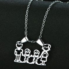 Stainless Steel Family Necklace Mom Dad Son Child Twin Mother Father Daddy Mommy #Unbranded #Pendant Dad Son, Mom And Dad, Family Necklace, Birthday Gifts For Girls, Mother And Father, Gifts For Mom, Twins, Daddy, Pendant