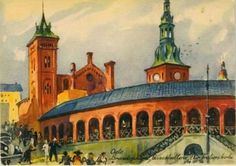 Kunstnerkort Chrix Dahl Basarhallene Oslo utg Damm 1930-tallet