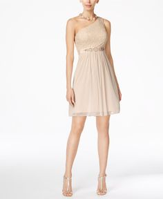 Adrianna papell adrianna papell one-shoulder lace dress Short Sparkly Dresses, Short Lace Dress, Tan Dresses, Lace Bridesmaid Dresses, Plus Size Dresses, Plus Size Outfits, Short Dresses, Dress Lace, Bridesmaids