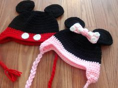 Crochet Mickey Mouse Hat and Minnie Mouse by TheItsyBitsyStitches, $14.00