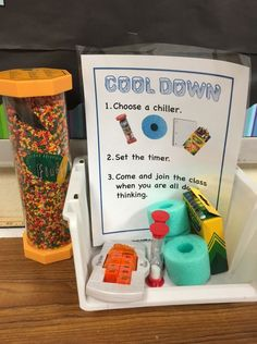 How do you help students work through their emotions when they are angry in class? I have started using this cool down center as a classroom management tool and an immediate way for students to relax and calm down. Check it out at Classroom Behavior Management, Behaviour Management, Behavior Plans, Behavior Charts, Stress Management, Calm Down Kit, Relation D Aide, Calm Down Corner, Conscious Discipline