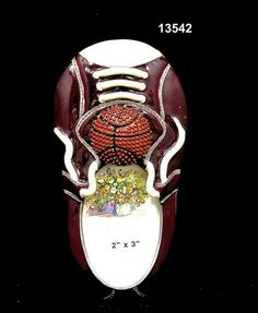 Frame/Kids/Basketball and Shoe Brass/Pewter  Glass Enameled  Handmade in Asia $9