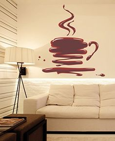 Wall Stickers Murals, Wall Decal Sticker, Easy Wall, Living Room Bedroom, Wall Colors, Coffee Cups, Wall Art, Interior Design, Amazon