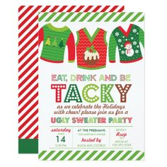 Eat Drink And Be Tacky Ugly Sweater Party Card