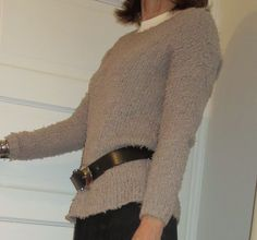 This fuzzy sweater is my latest textured separate. Over 50 Womens Fashion, New Day, New Outfits, Autumn Winter Fashion, Men Sweater, Separate, Sweaters, How To Wear, Belt