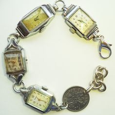 Handmade,Upcycled Vintage Watches and 1964 Sixpence Bracelet,Steampunk Bracelet,Vintage Watches Bracelet,Dr Who,Clara Oswald Jewelry by Recycloanalyst on Etsy https://www.etsy.com/listing/244814813/handmadeupcycled-vintage-watches-and