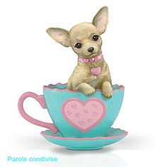 The Hamilton Collection Just My Cup of Tea Chihuahua Teacup Figurine: A Cup of Love Chihuahua Drawing, Teacup Chihuahua, Chihuahua Puppies, Chihuahuas, Yorkshire Terrier Dog, Illustration, My Cup Of Tea, Tea Cup, Dog Art