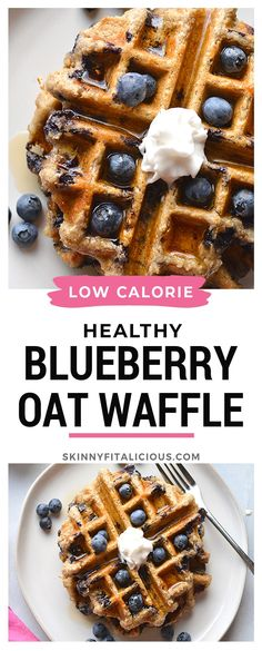 Healthy Blueberry Oat Waffles are low calorie made with gluten free oats and sugar free. #blueberry #oat #waffles #healthy #glutenfree #lowcalorie #lowcaloriediet #sugarfree #flourless Healthy Low Calorie Breakfast, Healthy Waffles, Healthy Breakfast Recipes, Healthy Waffle Recipes, Clean Eating Waffles, Healthy Blueberry Pancakes, Healthy Blueberry Recipes, Low Calorie Waffle Recipe, Waffle Maker Recipes