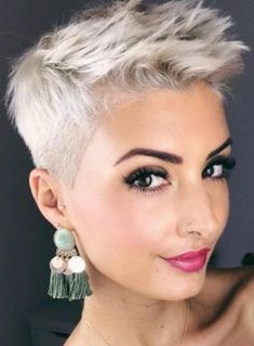 Short blonde pixie-a Platinum Blonde Pixie, Short Blonde Pixie, Short Grey Hair, Girl Short Hair, Short Hair Cuts, Short Hair Styles, Blonde Pixie Hair, Superkurzer Pixie, Edgy Short Haircuts