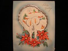 """Vintage """"Candle Glow Over The Christmas Scene """" Christmas Greeting Card 