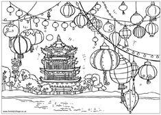 Chinese pagoda and lanterns coloring sheet