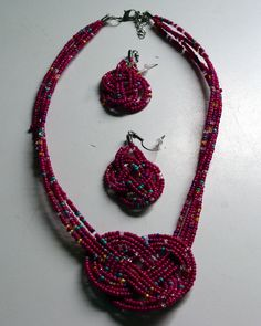 Stunning Knotted Seed Bead Jewelry Set.  A true must see.
