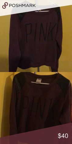 PINK Crew Neck Sweat shirt Purple with Black Writing and Black leather on shoulders. Heavy and warm  Obo PINK Victoria's Secret Tops Sweatshirts & Hoodies