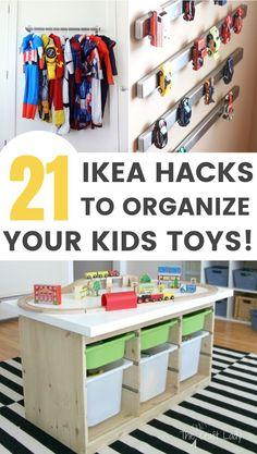 21 IKEA Toy Storage Hacks Every Parent Should Know! Affordable IKEA Hack ideas for toy storage Sharing 21 awesome IKEA storage hacks for all your kids toys. These IKEA toy storage hacks will help you to get organised on a minimum budget. Ikea Toy Storage, Storage Hacks, Diy Storage, Storage Ideas, Childrens Toy Storage, Storage For Kids Toys, Lego Storage Table, Kids Playroom Storage, Organized Playroom