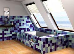 #Original baño con #azulejos artesanales azules en distintos tonos
