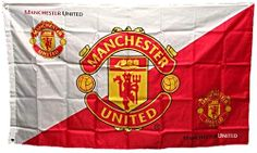 Manchester United Red White Diagonal Large Flag with Club Crests NEW DESIGN
