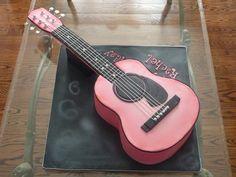 it's a pink guitar cake!!! by J'Adore Cakes Co. www.jadorecakesco.com