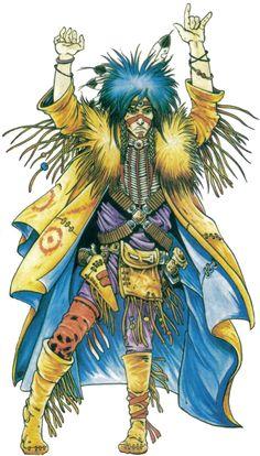 shadowrun; male; human; shaman; blue-haired; amerindian