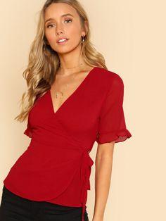 4d8c78df57f0d9 Sheinside Red V-Neck Wrap Blouse Solid Belted Top 2018 Summer Women OL Work  Elegant Slim Fit Short Sleeve Blouse