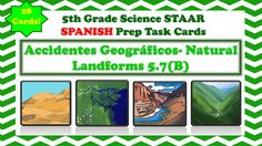The following is a set of task cards that focus on land forms. The following task cards contain...-28 Cards-Are in Spanish-Focus on land forms formation and changes-Mirrors questions like those seen on the 5th Grade STAAR Science Test-Includes Recording Sheet and Answer Key