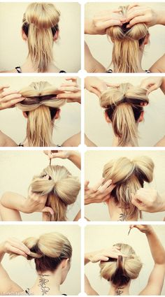 DIY hair bow in hair... omg so easy and cute...