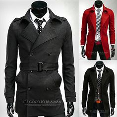 Double Breasted Slim Fit Mens Belted Over Coat | Sneak Outfitters