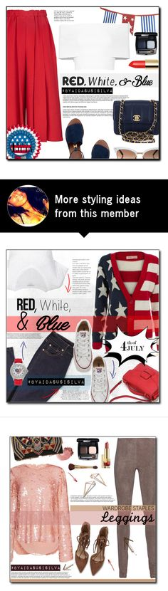 """""""Red, White and Blue Fashion"""" by aidasusisilva on Polyvore featuring Victoria Beckham, Chanel, Tory Burch, Crate and Barrel, Rosetta Getty, Tiffany & Co., Gucci, redwhiteandblue and july4th"""
