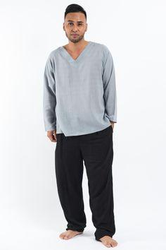Mens V Neck Yoga Shirts in Gray