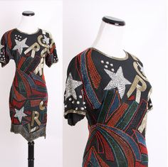 Vintage 1980s Silk Sequin Beaded Cocktail Party Dress with Avant Garde Color Block Pattern.