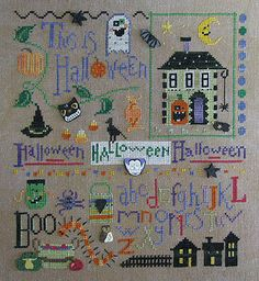 Raise The Roof Designs This is Halloween - Cross Stitch Pattern. Model stitched on 32 count Ale by Picture This Plus using Gentle Art, Weeks Dye Works & DMC. DM