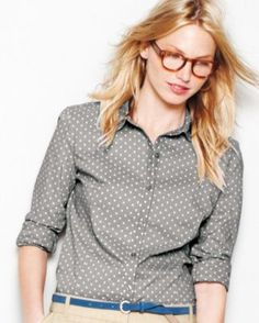 Essential Printed Cotton Shirt - Regular. The seasons grey and polka dots, win-win.
